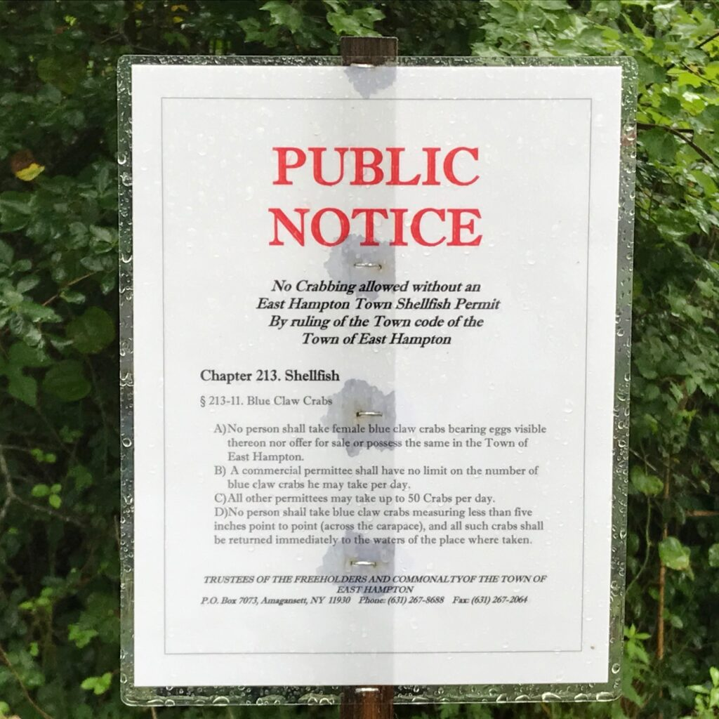 Public Notice. No Crabbing allowed without a permit.